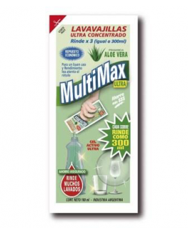 Detergente/lavavajillas Multimax – Ultraconcentrado 100ml (rinde 300ml) – Caja x36 sobres